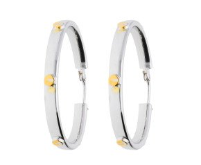 9ct Yellow Gold White Screw Hoop Earrings