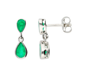 9ct White Gold Emerald Double Drop Pear Shape Earrings