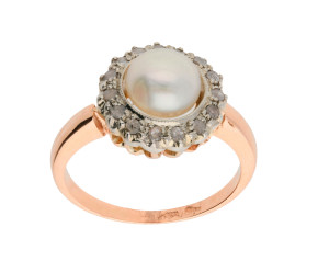 Handcrafted Italian 9ct Rose Gold Pearl & Diamond Ring
