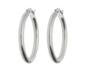 18ct White Gold Tube  Hinged Hoop Earrings
