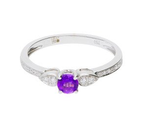 18ct White Gold 0.25ct Amethyst & 0.05 Diamond Fancy Dress Ring