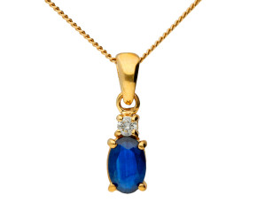 9ct Yellow Gold 6mm Sapphire & Diamond Oval Pendant