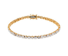 9ct Yellow Gold 0.52ct Diamond Tennis bracelet