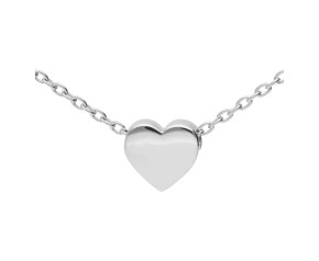 9ct White Gold Heart Necklace