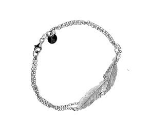 Sterling Silver Double Feather Bracelet
