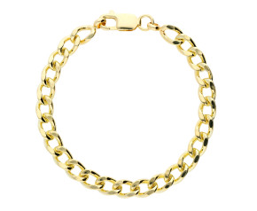 9ct Yellow Gold 6.71mm Heavy Filed Curb Chain Bracelet