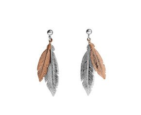 Sterling Silver & Rose Gold Plated Double Feather Earrings