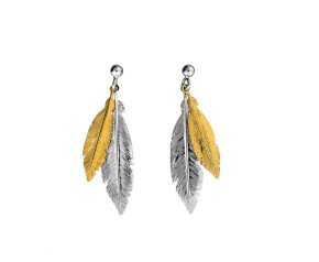 Sterling Silver & Gold Plated Double Feather Drop Earrings