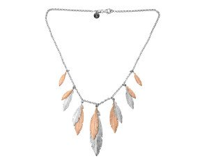 Sterling Silver & Rose Gold Plated Feather Necklace