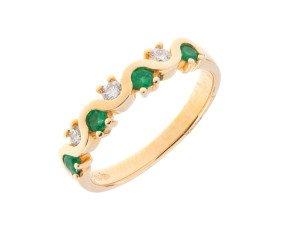18ct Gold 0.20ct Emerald & Diamond Wavy Half Eternity Ring