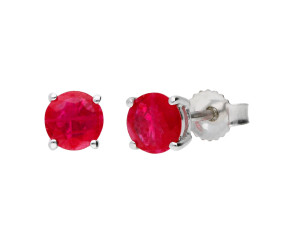 9ct White Gold 1.50ct Round Ruby Solitaire Stud Earrings