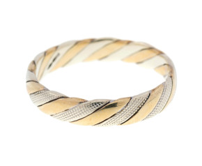 Pre-Owned 9ct Yellow & White Gold Twisted Band Ring