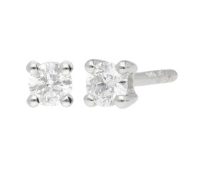 9ct White Gold 0.20ct Diamond Solitaire Stud Earrings