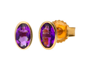 9ct Yellow Gold 0.45ct Oval Amethyst Solitaire Stud Earrings