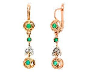 Handcrafted Italian 0.60ct Emerald & Diamond Fancy Drop Earrings