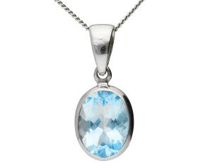 9ct White Gold 1.60ct Aquamarine Solitaire Pendant