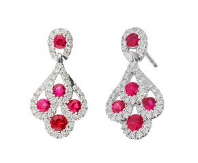 18ct White Gold 0.70ct Ruby & 0.30ct Diamond Peacock Drop Earrings