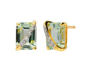 9ct Yellow Gold Green Amethyst & Diamond Fancy Stud Earrings