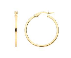9ct Yellow Gold Square Edge Hinged Hoops