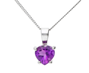 9ct White Gold Amethyst Heart Solitaire Pendant