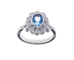 18ct White Gold 0.60ct Aquamarine & Diamond Dress Ring
