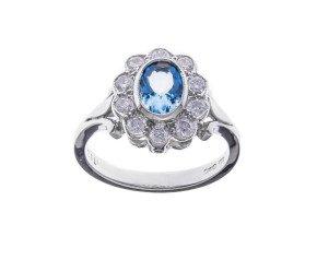 18ct White Gold 0.60ct Aquamarine & Diamond Dress Ring