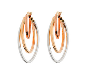 9ct Yellow White & Rose Gold Fancy Oval Hoop Earrings