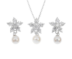 Sterling Silver Pearl Star Earrings & Pendant Set