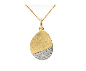 9ct Yellow Brushed Gold & Diamond Drop Pendant