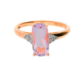 9ct Rose Gold 1.92ct Amethyst & Diamond Dress Ring