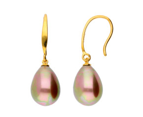 Sterling Silver & Gold Plated Cognac Pearl Drop Earrings