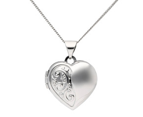 9ct White Gold Heart Locket