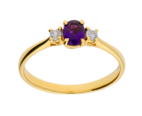 18ct Yellow Gold 0.25ct Amethyst & 0.05ct Diamond Three-Stone Ring