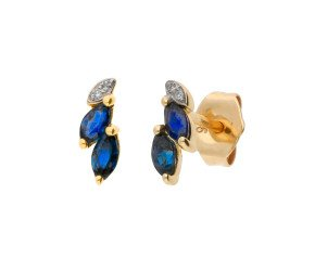 9ct Yellow Gold Sapphire & Diamond Stud Earrings