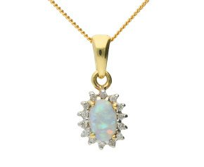 9ct Yellow Gold 0.25ct Opal & Diamond Cluster Pendant
