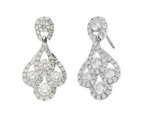 18ct White Gold 0.90ct Diamond Peacock Drop Earrings