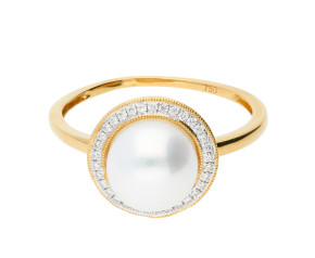 18ct Gold Pearl & Diamond Dress Ring