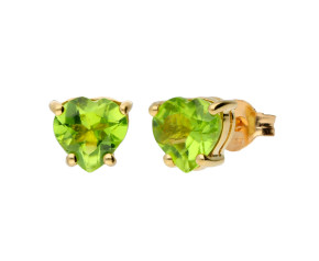 9ct Yellow Gold Heart Peridot Solitaire Stud Earrings