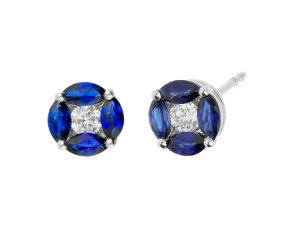 18ct White Gold 0.10ct Diamond & Sapphire Cluster Stud Earrings