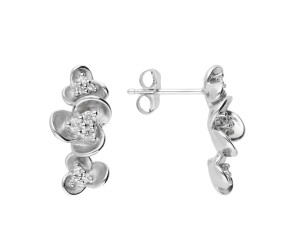 9ct White Gold Diamond Floral Drop Earrings