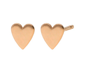 9ct Rose Gold Heart Stud Earrings