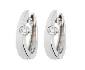 Pre-owned 0.15ct Diamond Hinged Hoop Earrings