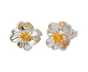 Silver & Yellow Gold Primrose Flower Stud Earrings