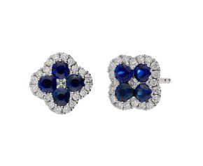 18ct White Gold 0.56ct Sapphire & 0.15ct Diamond Fancy Cluster Earrings