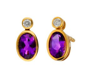 9ct Yellow Gold 0.70ct Amethyst & 0.06ct Diamond Drop Earrings