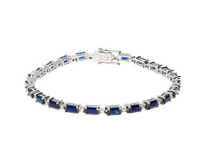 18ct White Gold 9.80ct Sapphire & 0.55ct Diamond Bracelet
