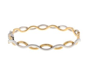 Pre-Owned 9ct Gold Crossover Wave Bangle