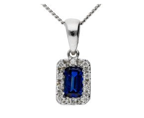 18ct White Gold 0.35ct Sapphire & Diamond Cluster Pendant
