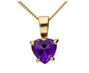 9ct Yellow Gold Heart Amethyst Solitaire Pendant