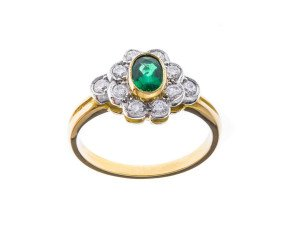 18ct Gold 0.38ct Emerald & Diamond Ring